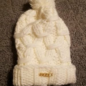 Bebe white snow hat